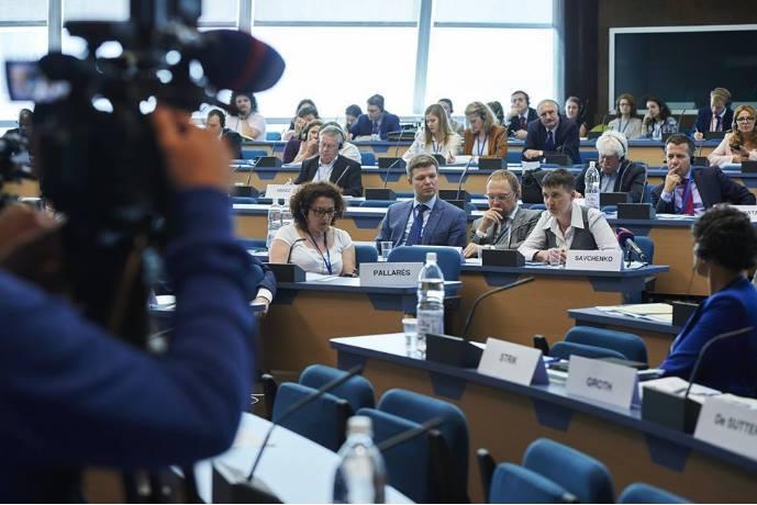 Члены украинской делегации в ПАСЕ: Леонид Емец, Сергей Власенко и Надежда Савченко