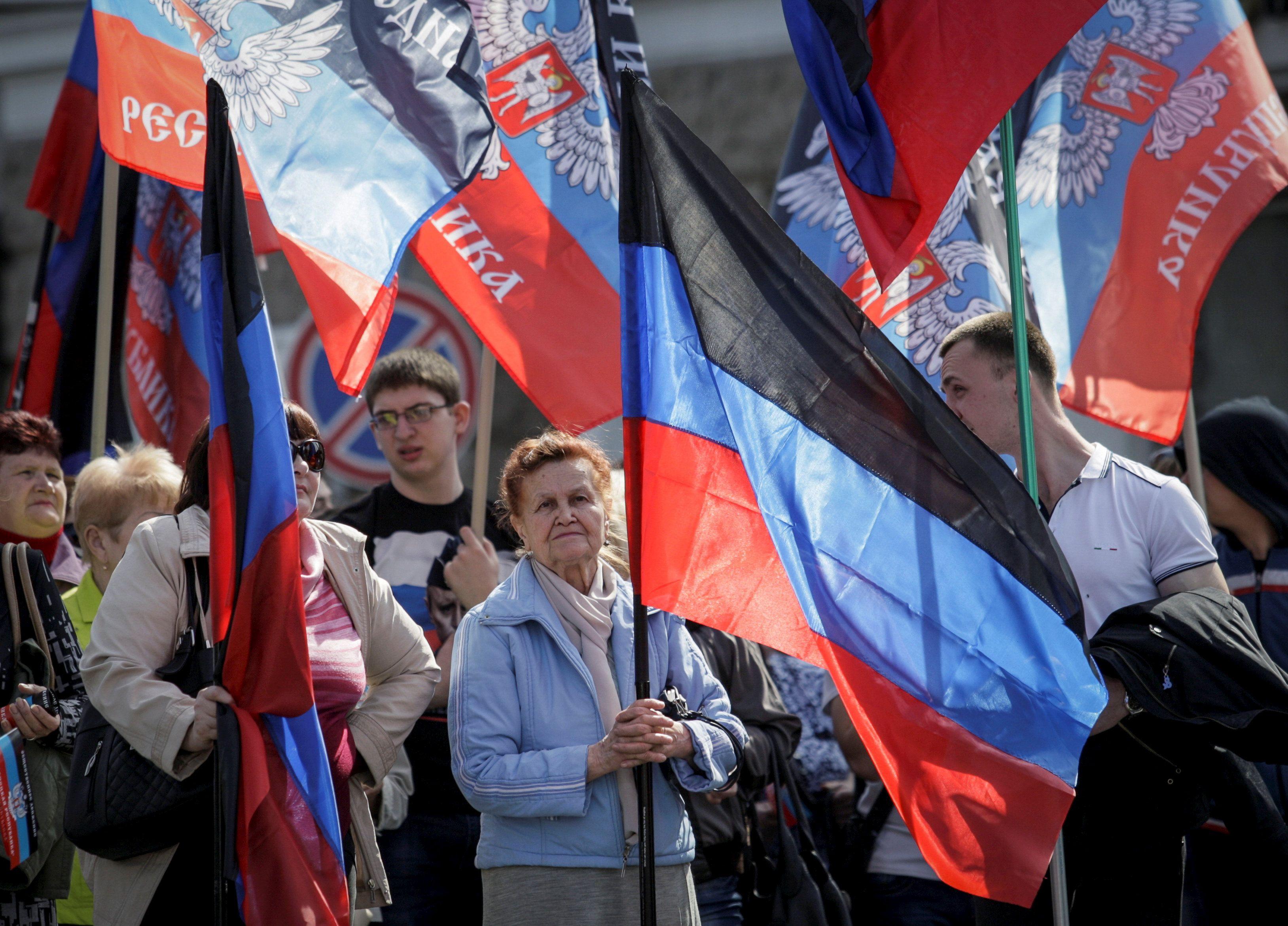 Донецк, сепаратисты, флаги