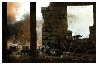 Украинские военные ведут ответный огонь
