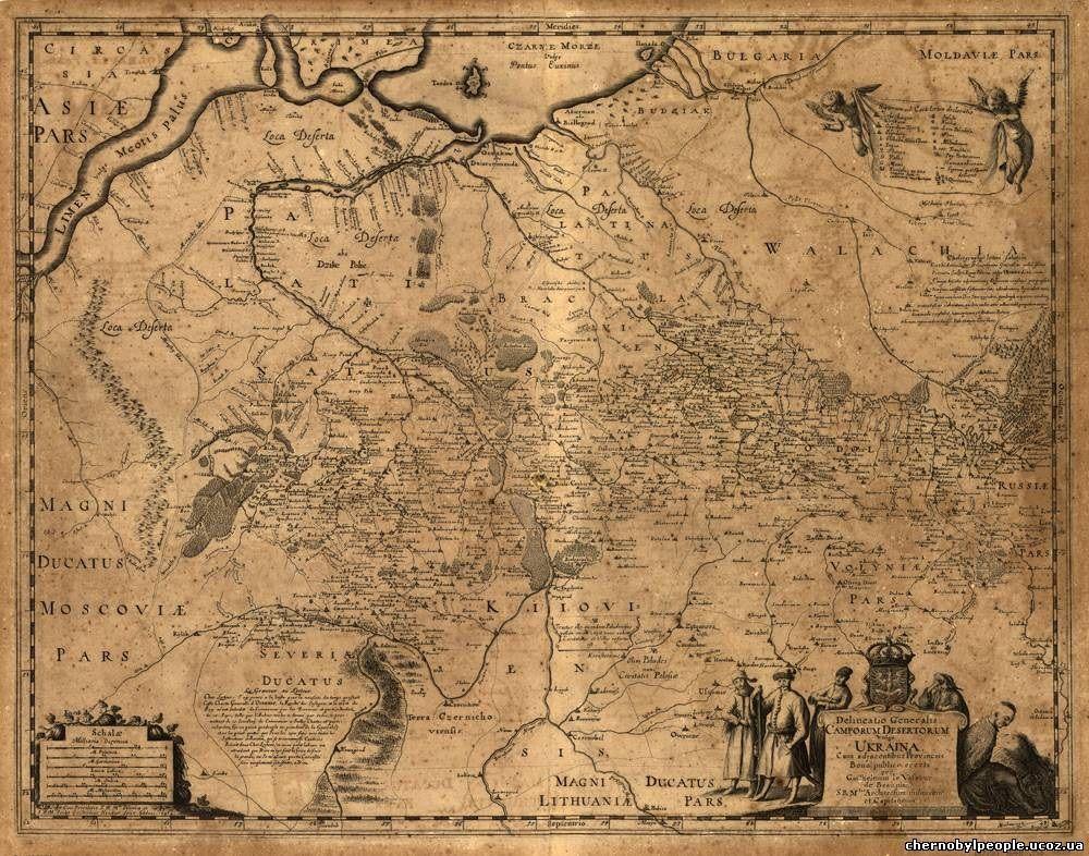 Карта Украины. 1648 г. Гийом Левассер де Боплан