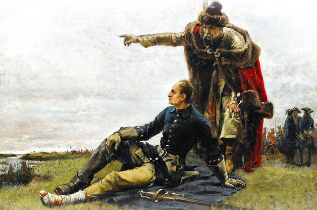 Мазепа и Карл XII после Полтавской битвы. Картина. Густав Седерстрём