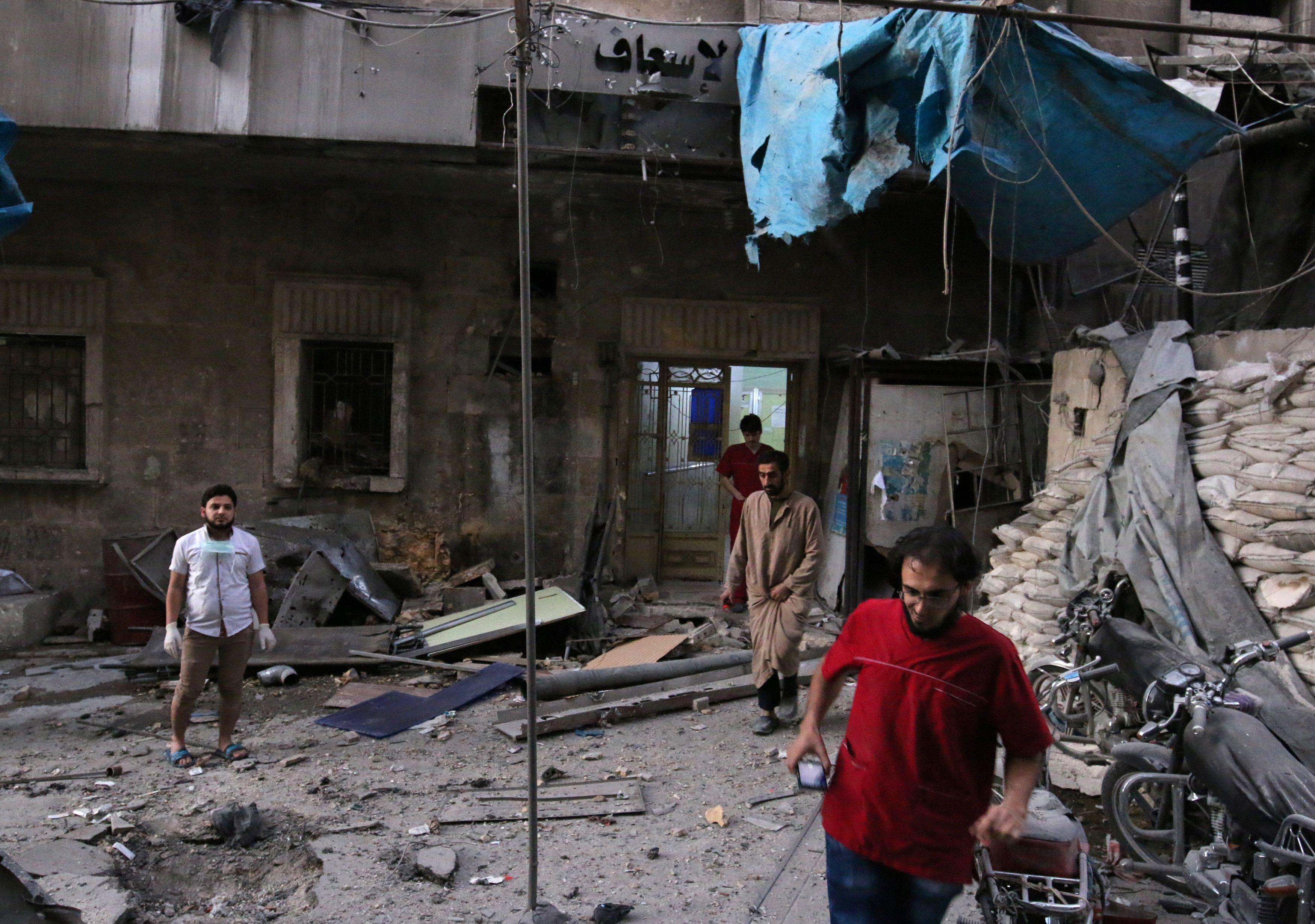 Разбитая больница в Алеппо, иллюстрация