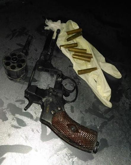 Оружие и боеприпасы, найденные у злоумышленника