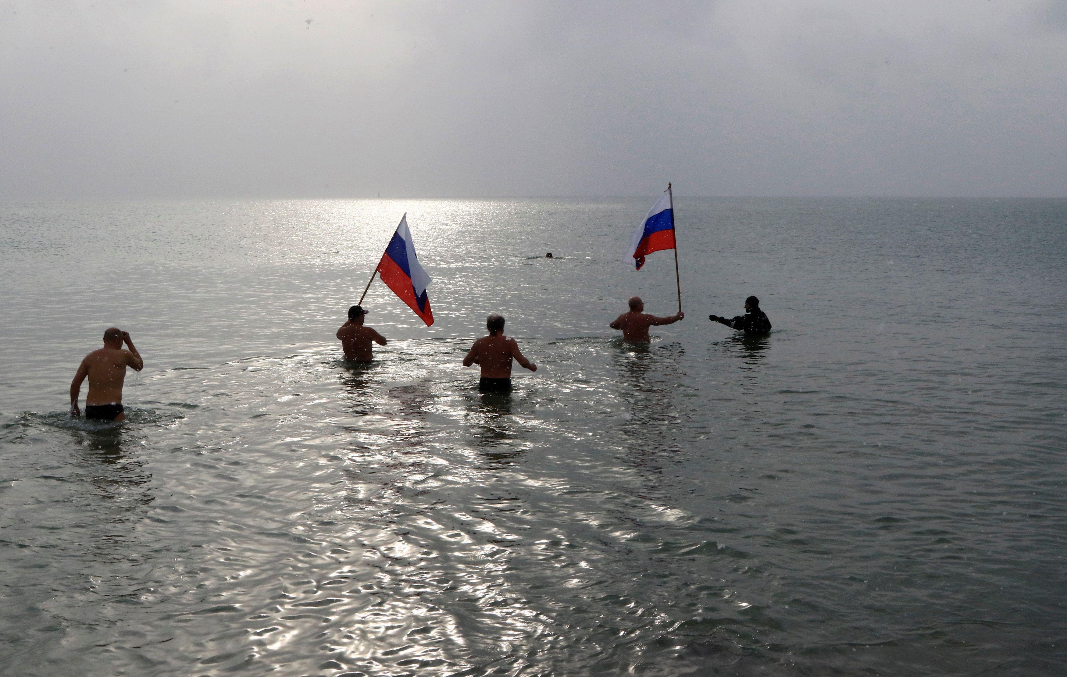 Крым, море, флаг, Россия