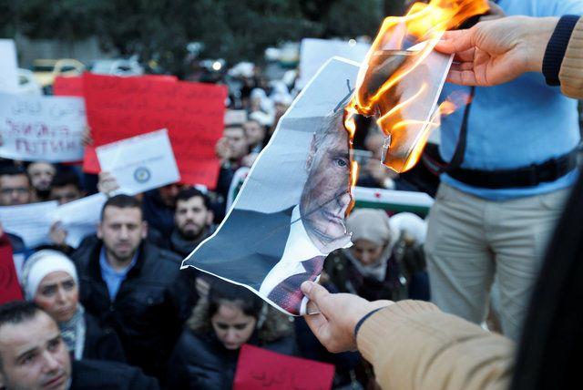 Акция протеста против действия России в Сирии