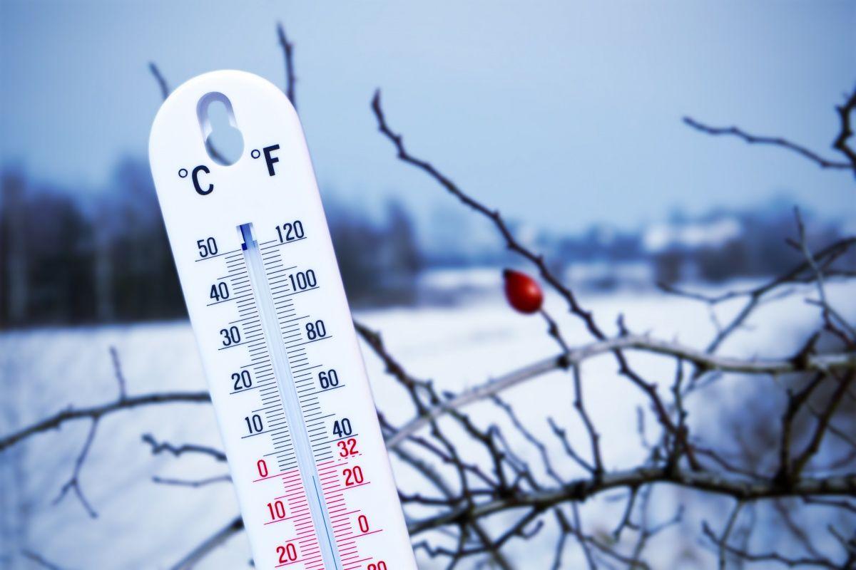 мороз, снег, зима, градусник