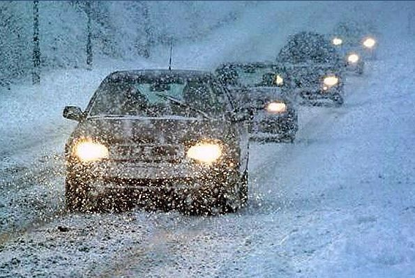 Снегопад, метель, дорога, авто