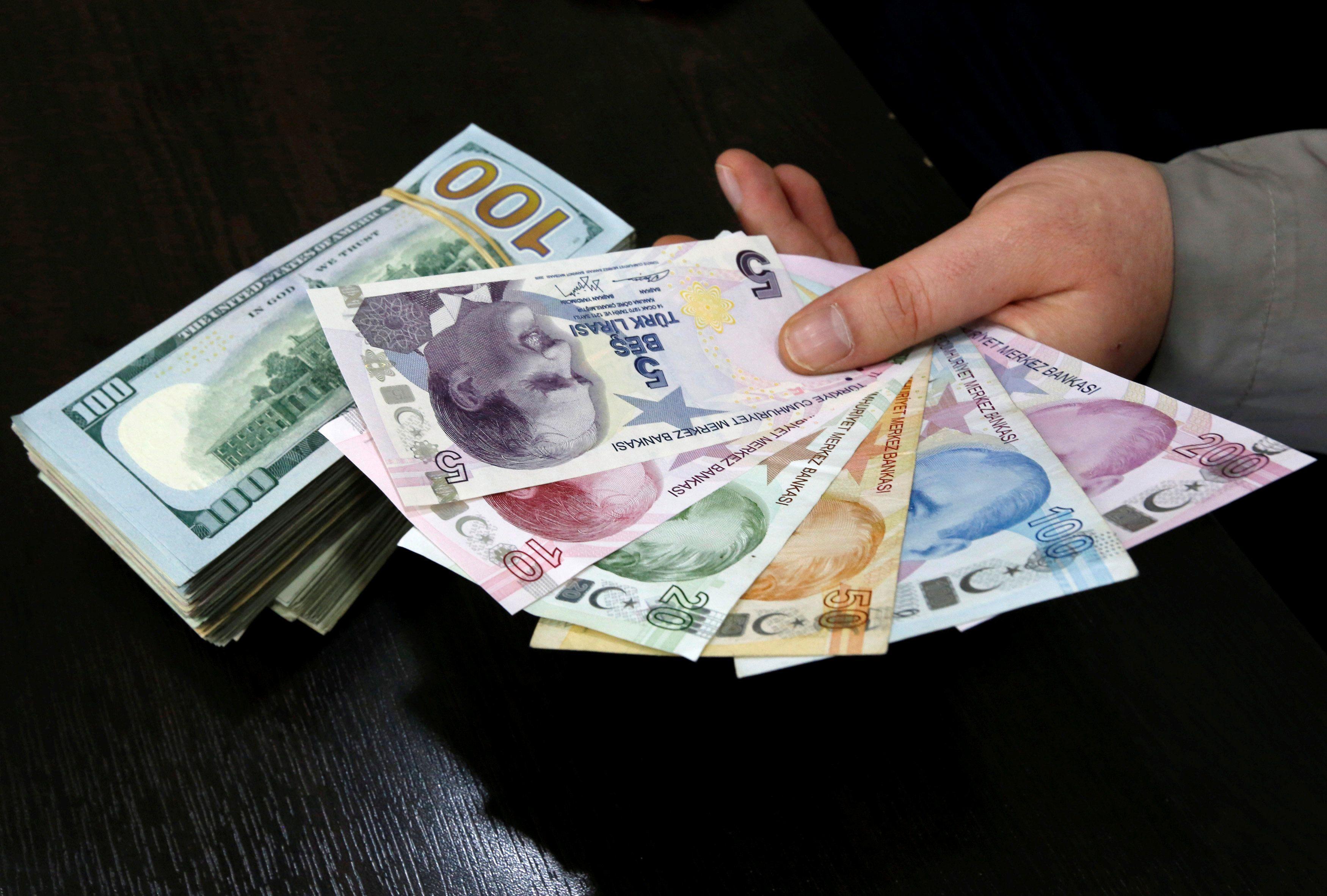 Доллары и турецкие лиры, иллюстрация
