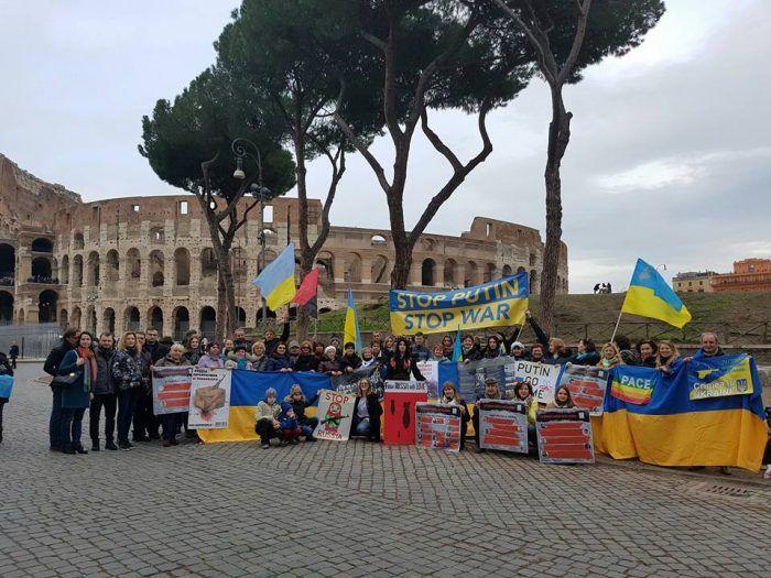 Митинг украинцев в Риме.
