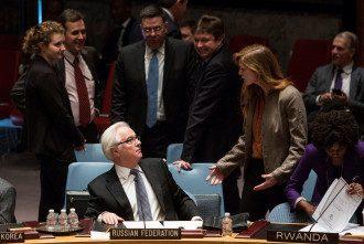 Виталий Чуркин и Саманта Пауэр в ООН