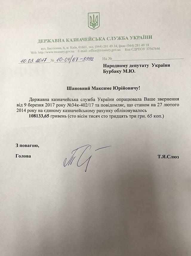 После бегства Януковича в казне оставалось 108 тысяч гривен