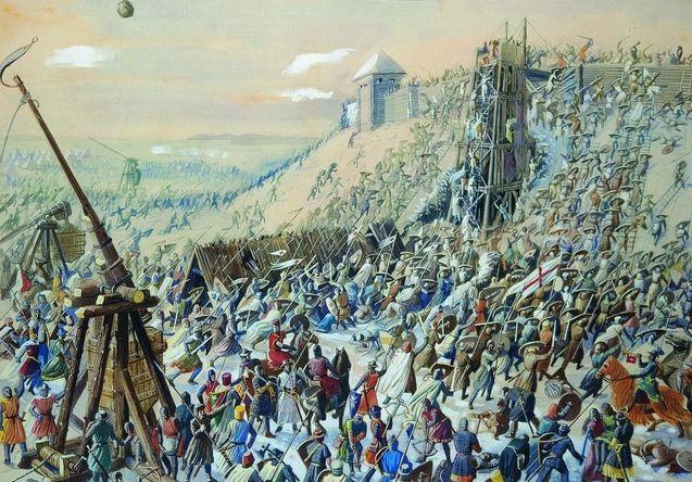 Картина, штурм середньовічного міста