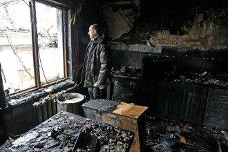 Разрушенный Донецк, иллюстрация.