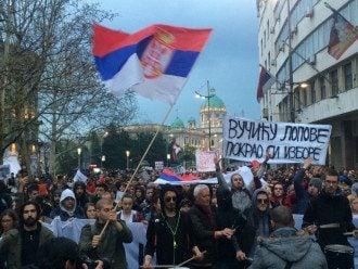 Протесты в Сербии.