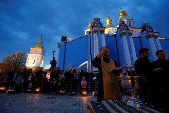 Служба в Михайловском соборе Киева