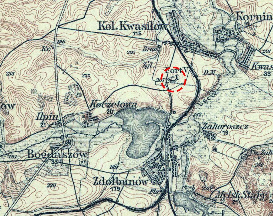 Оборонний форт номер 5 на карті 1916 року