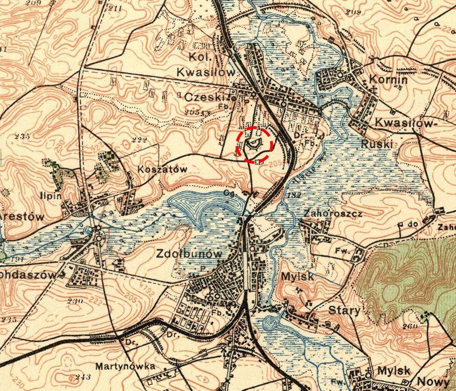 Оборонний форт номер 5 на карті 1926 року