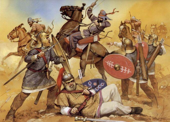 Обри в бою с візантійськими легіонерами