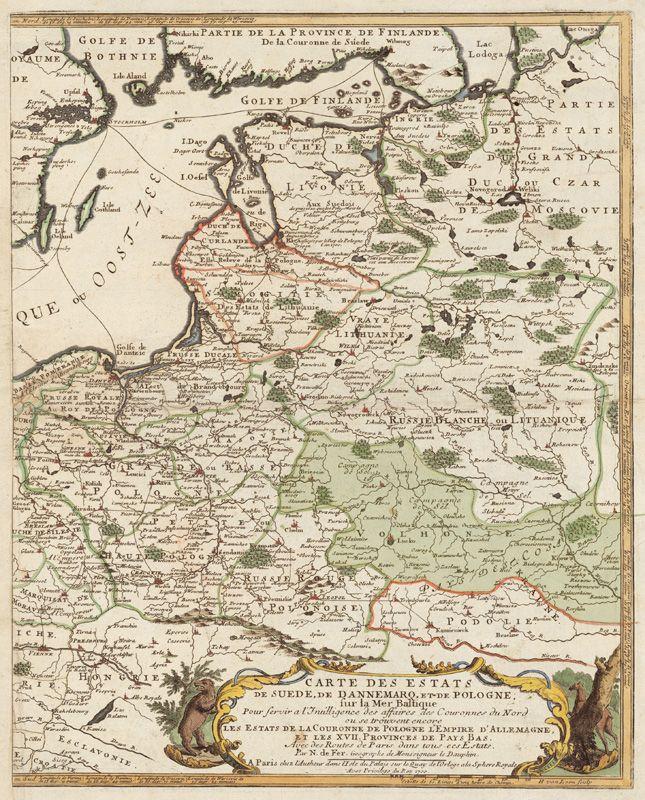 Волхонія на французькій карті 1700 р. Зеленим кольором виділена