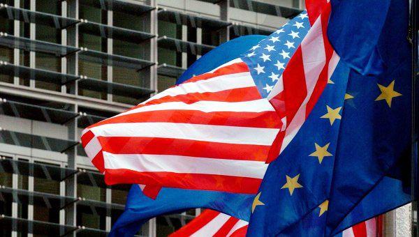 Флаги США и Евросоюза, иллюстрация