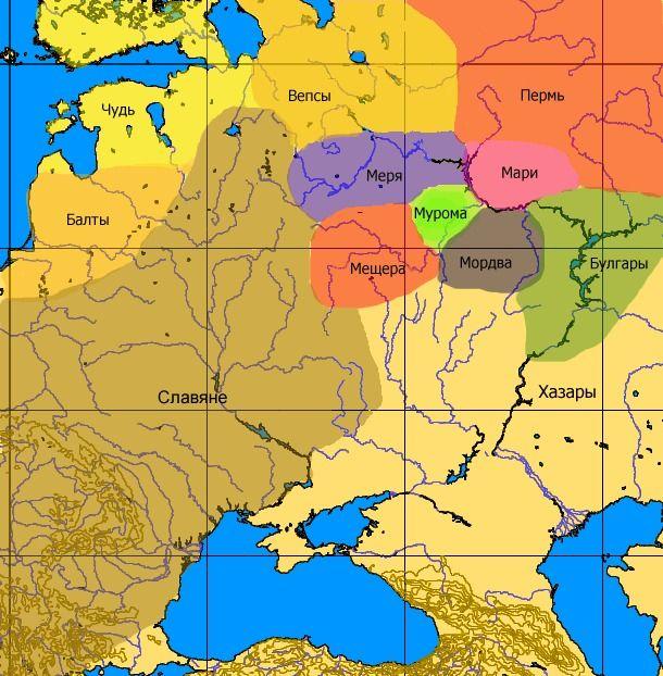 Карта розселення фінно-угорських народів Верхньої Волги у VIII-IX ст.