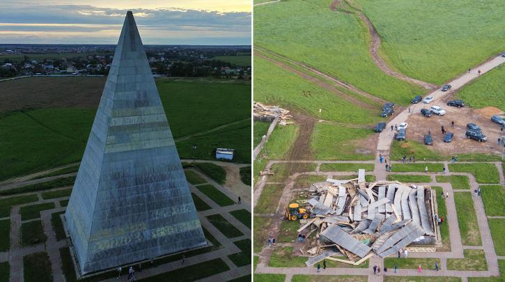 Пирамида Александра Голода до и после обрушения