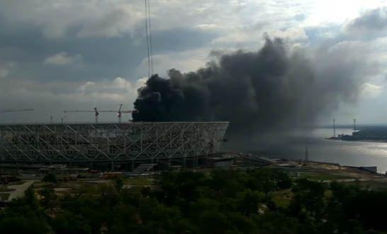 В Волгограде загорелся недостроенный стадион