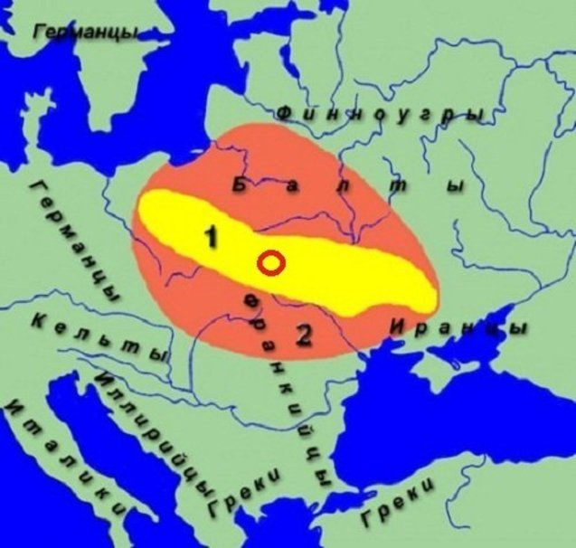 Прабатьківщина слов'ян у ІІІ-ІІ ст. до н.е. і раннє слов'янство початку І тис.н.е. (за даними науки)