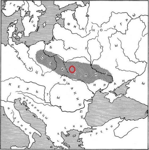 Прабатьківщина слов'ян за Б.Рибаковим (кінець І тис. до н.е. — початок І тис. н.е.)