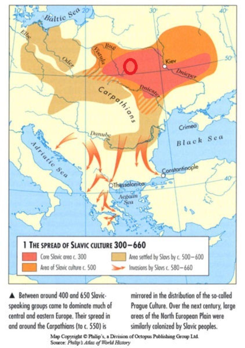 Слов'янські культури в 300—660 рр. н.е. (зі збірника карт про світові культури)