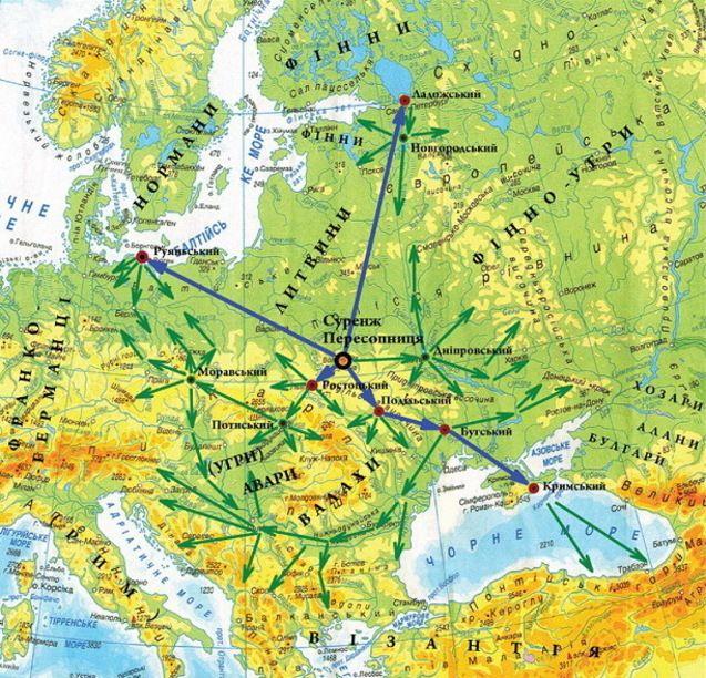 Утворення рахманських центрів у Європі та напрями їхньої діяльності у ІІІ-ХІ ст. (карта ДЦ