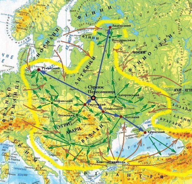 Ареал духовного впливу рахманів та волхвів у 3-9 ст. н.е. (жовтий колір) і зовнішня протидія слов'янському світу у 7-9 ст. н.е. (коричневі стрілки)