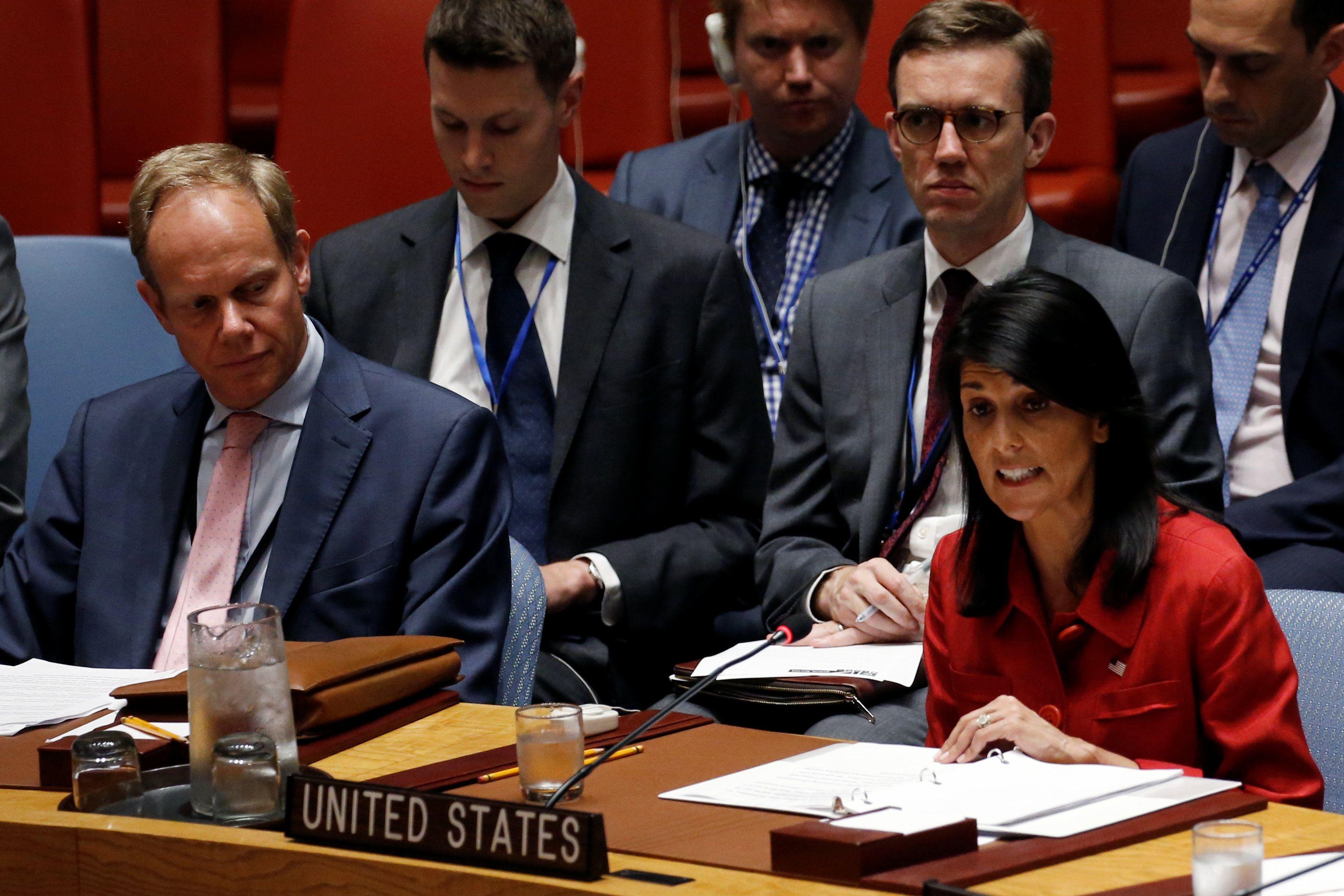Никки Хейли на зеседании Совбеза ООН.