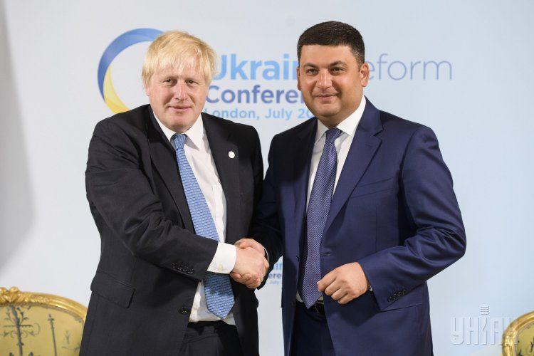Глава МИД Британии Борис Джонсон и Владимир Гройсман в Лондоне