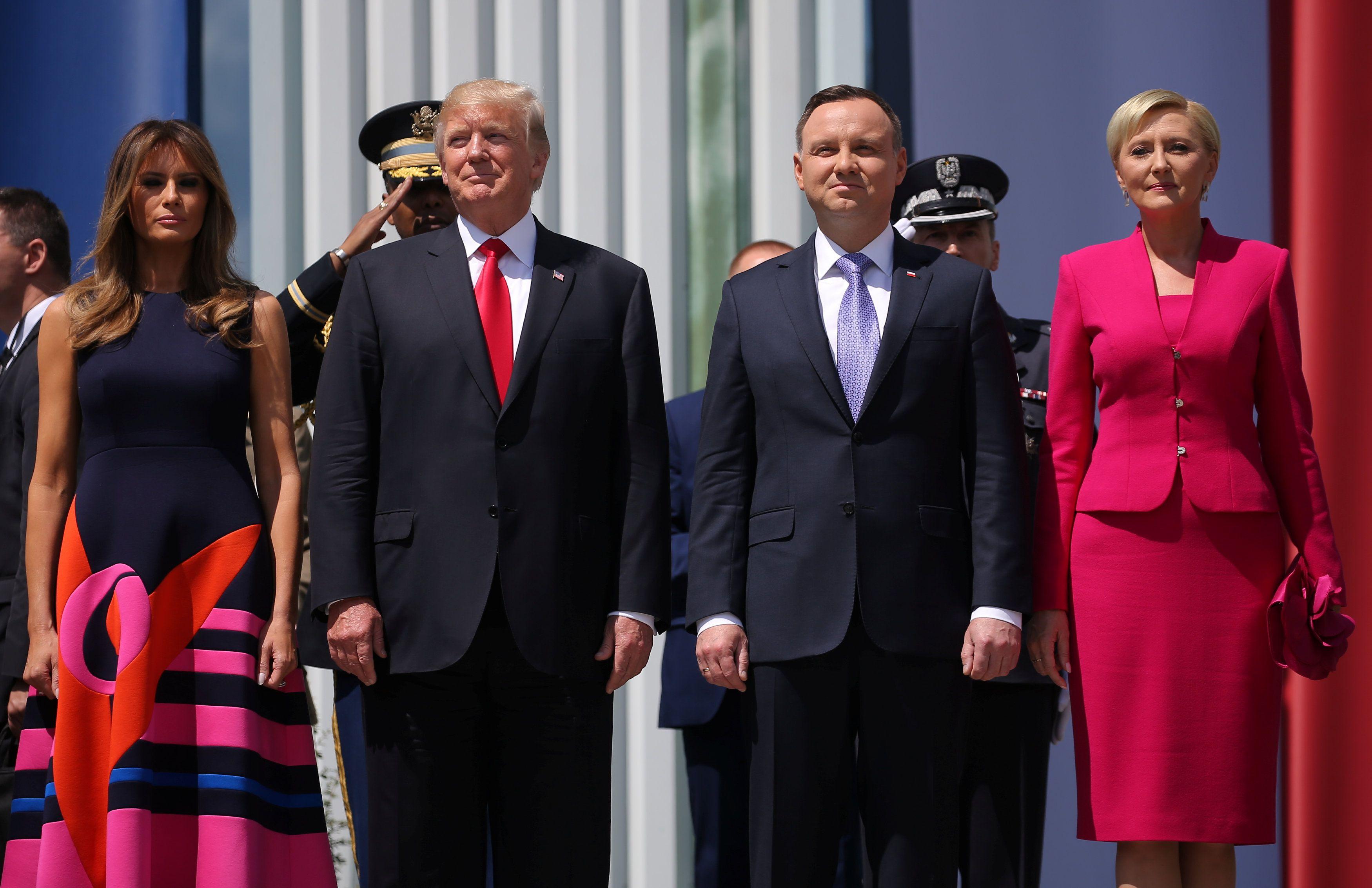 Дональд Трам и Анджей Дуда с супругами в Варшаве