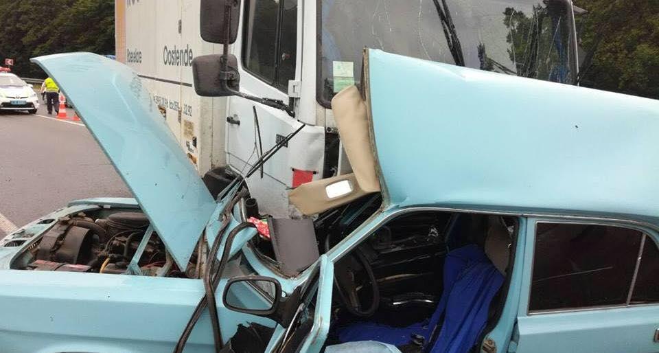 «Волга» на встречке врезалась в грузовик