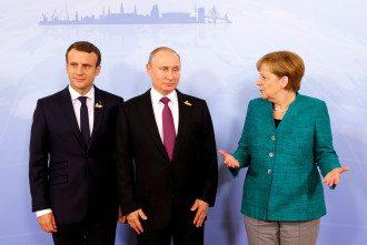 Ангела Меркель, Ангелы Меркель, президента Франции Эммануэль Макрон и Владимир Путин.