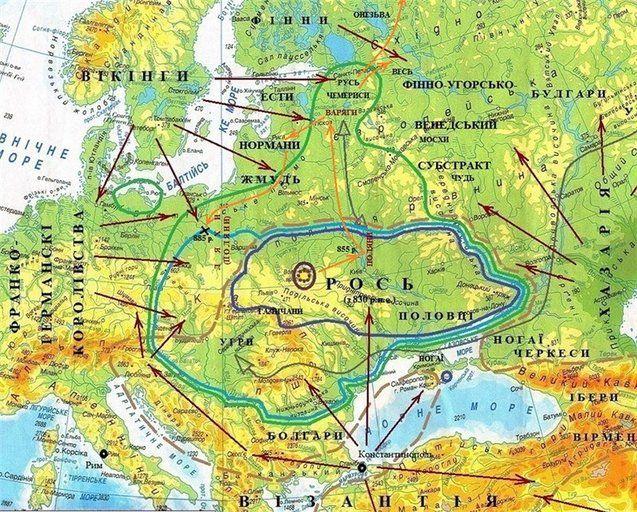 Слов'янський світ і його оточення у кінці IX ст.н.е. (карта ДЦ