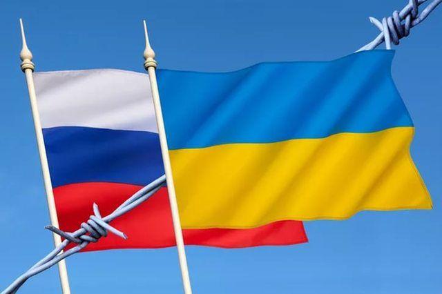 Флаги Украины и РФ, иллюстрация