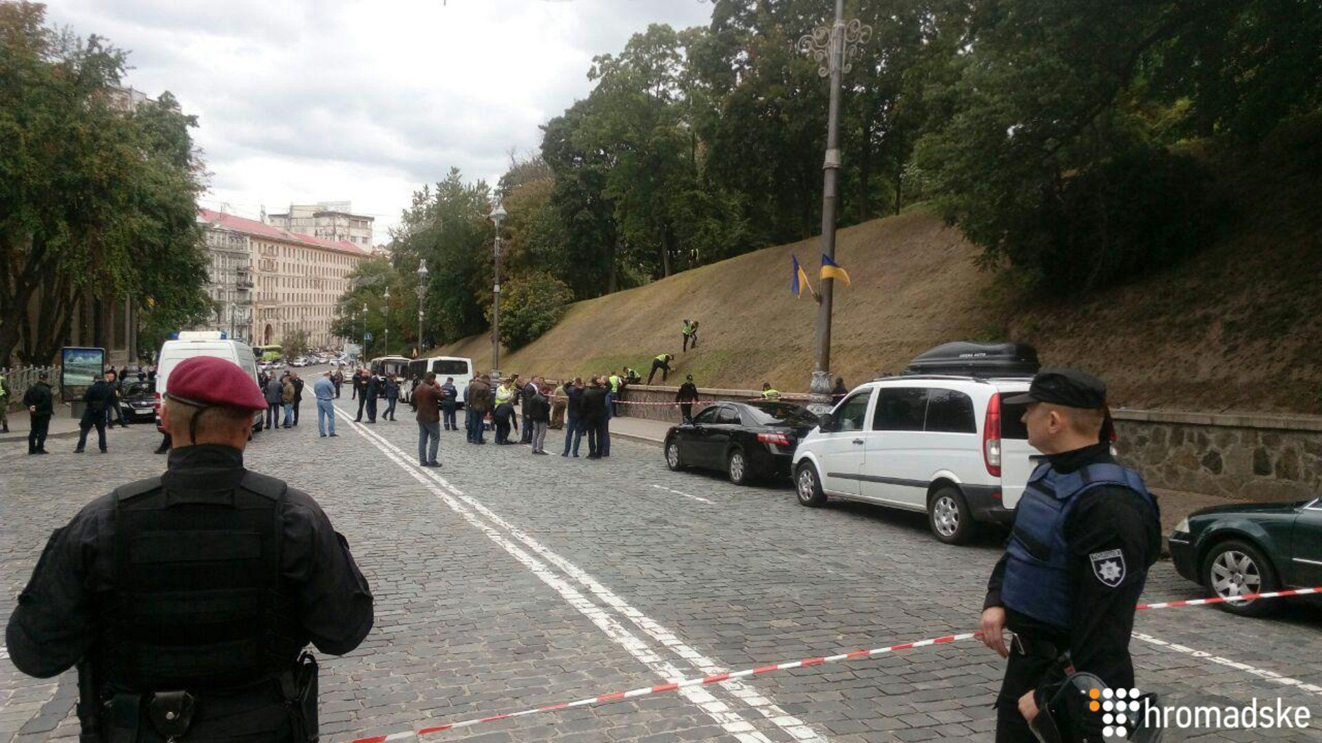 Место взрыва в центре Киева