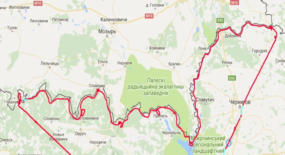 Схема полета DA-42 вдоль границы Беларуси