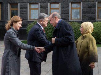 Петр и Марина Порошенко и Эмине и Реджеп Тайип Эрдоган