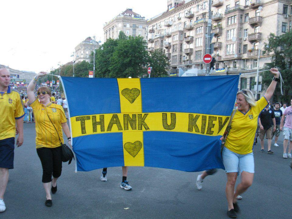 Спасибо Киев за гостеприимство, говорили фанаты Швеции.