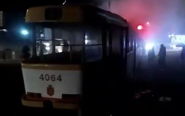 Пожар в одесском трамвае