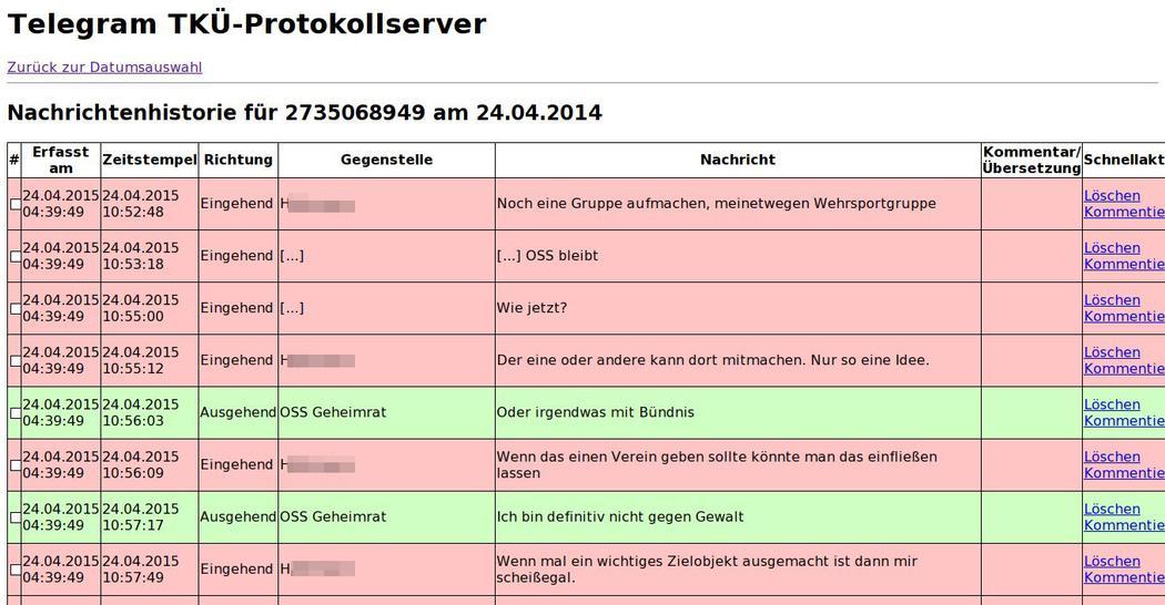 Вот так выглядит протокол перехвата сообщений из Telegram в хакерской программе уголовной полиции Германии. Фото: Motherboard