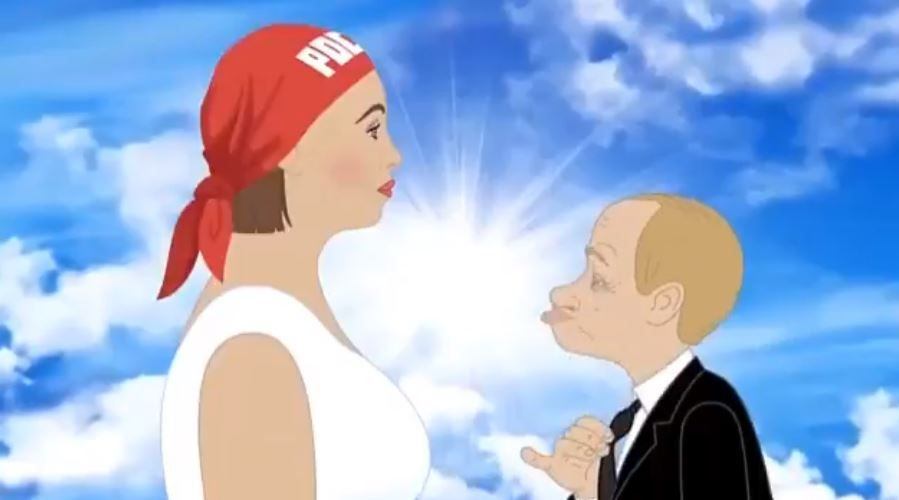 Свадьба Путина с девушкой, символизирующей Россию.