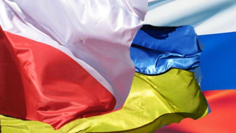 Флаги Польши, России и Украины