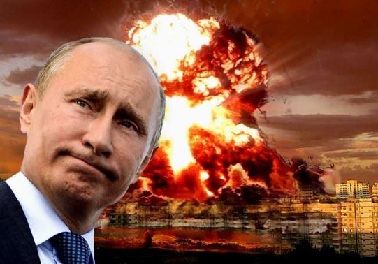 Владимир Путин на фоне взрыва