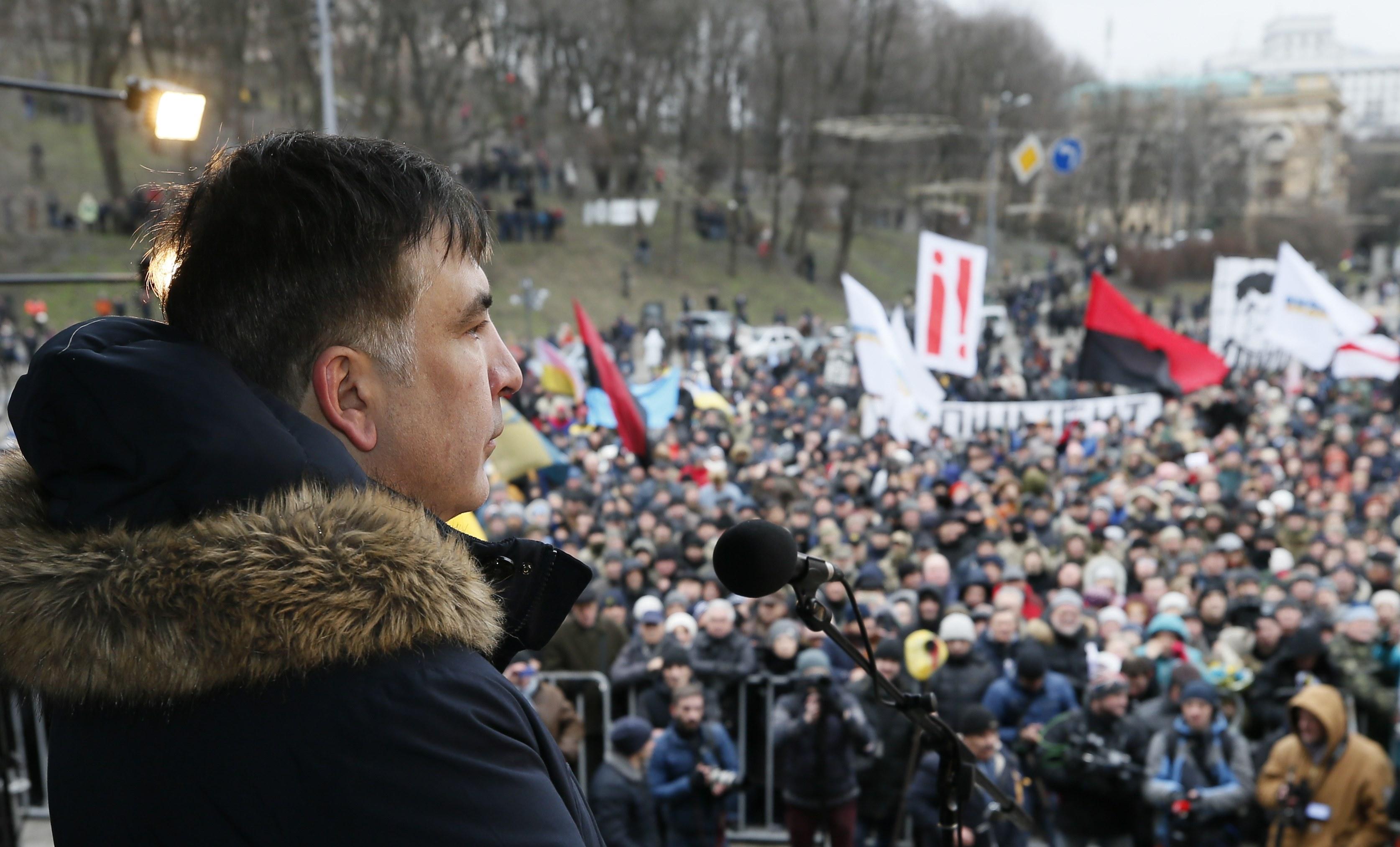 Михеил Саакашвили на вече в Киеве.
