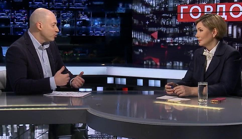 Елена Бондаренко в гостях у Дмитрия Гордона. Фото: кадр из видео